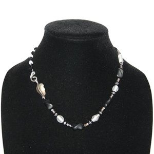 Beautiful black and white beaded leaf necklace